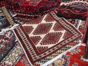 Freshly dry-cleaned Oriental rug